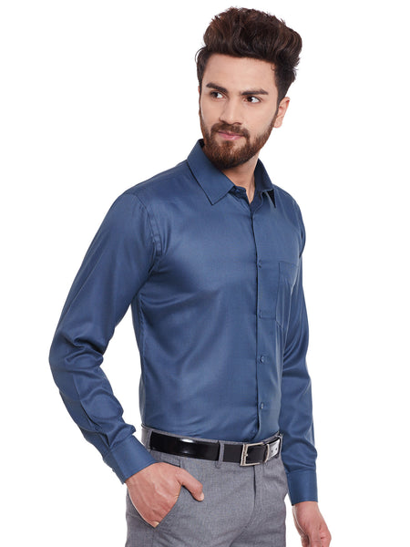 Hancock Navy and Grey Solid Slim Fit Formal Shirt