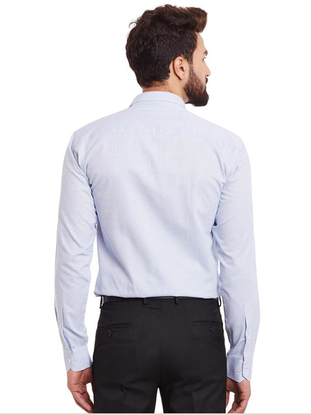Hancock White and Blue Solid Pure Cotton Slim Fit Formal Shirt