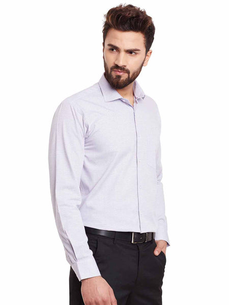 Hancock White and Purple Solid Pure Cotton Slim Fit Formal Shirt