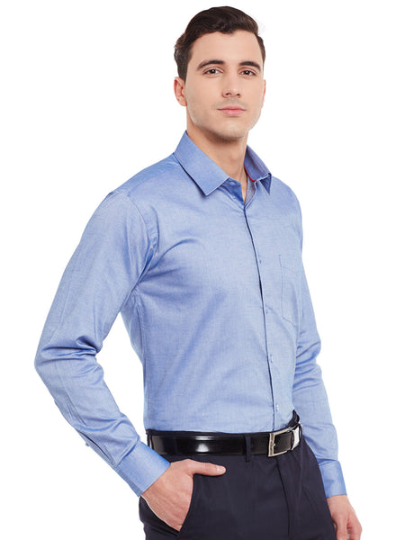 Hancock Blue Chambray Pure Cotton Slim Fit Formal Shirt