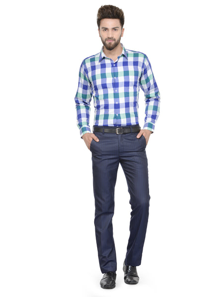 Hancock White and Blue Checks Pure Cotton Slim Fit Shirt