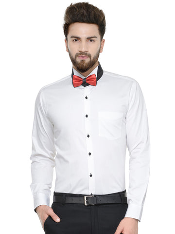 Hancock White Solid Pure Cotton Bow Collar Slim Fit Shirt