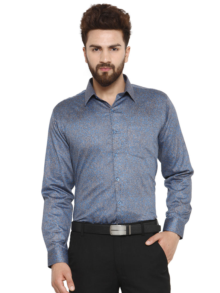 Hancock Blue Printed Pure Cotton Slim Fit Shirt