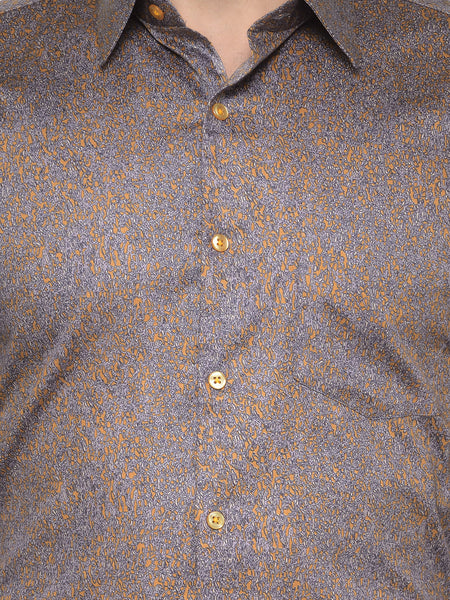 Hancock Brown and Mustard Printed Pure Cotton Slim Fit Shirt