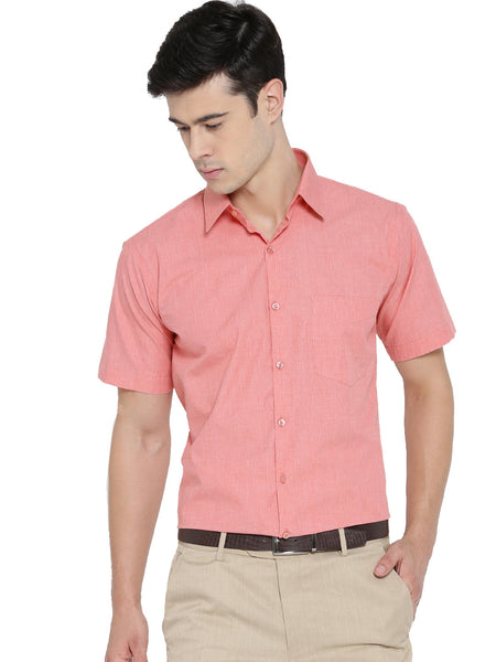 Hancock Coral Chambray Pure Cotton Slim Fit Formal Shirt