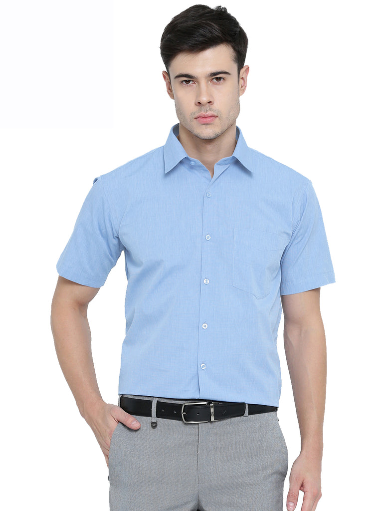 Hancock Sky Blue Solid Chambray Cotton Half Sleeve Formal Shirt