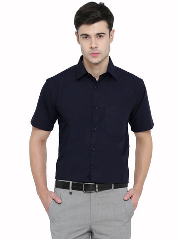 Hancock Navy Solid PureCotton Slim Fit Formal Shirt
