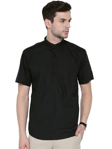Hancock Black Solid Pure Cotton Slim Fit Casual Shirt
