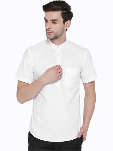 Hancock White Solid Pure Cotton Slim Fit Casual Shirt