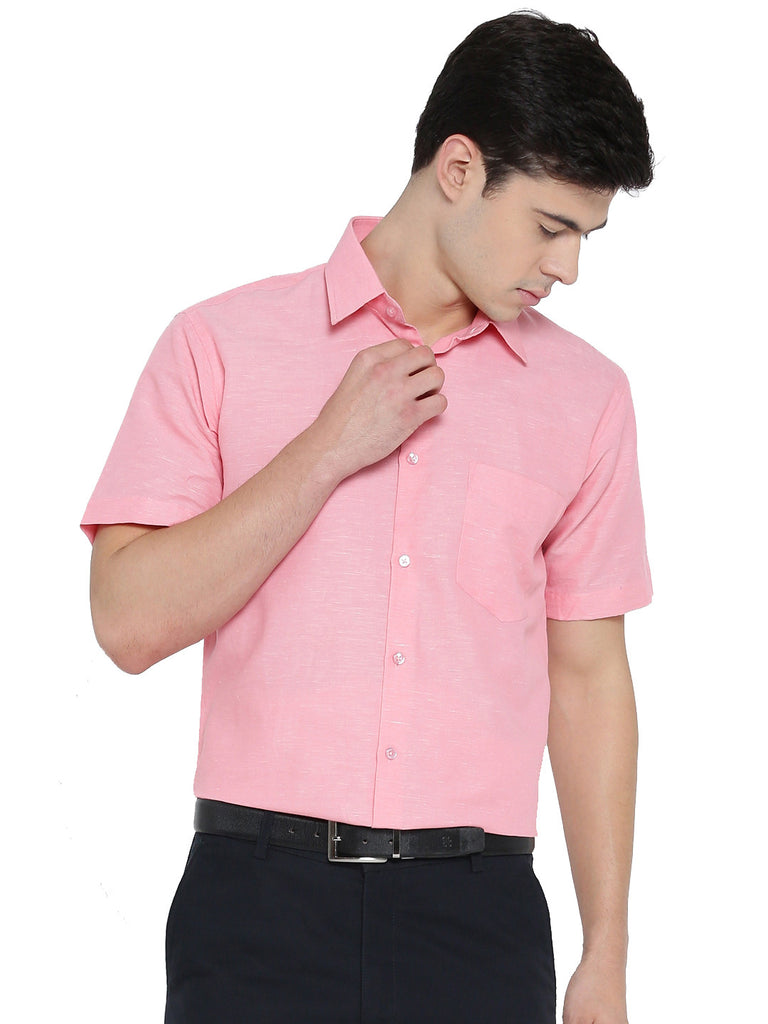 Hancock Coral Solid Linen Cotton Slim Fit Formal Shirt