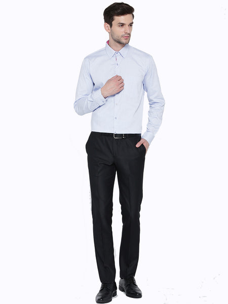 Hancock Sky Blue Solid Pure Cotton Slim Fit Formal Shirt