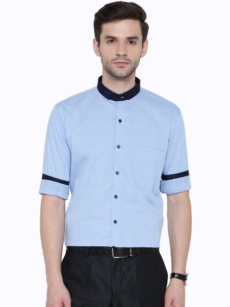 Hancock Blue Jacquard Pure Cotton Slim Fit Casual Shirt