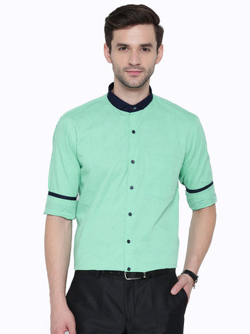 Hancock Green Jacquard Pure Cotton Slim Fit Casual Shirt