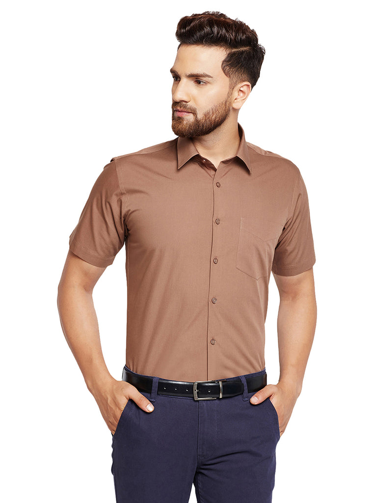 Hancock Brown Solid Slim Fit Pure Cotton Formal Shirt