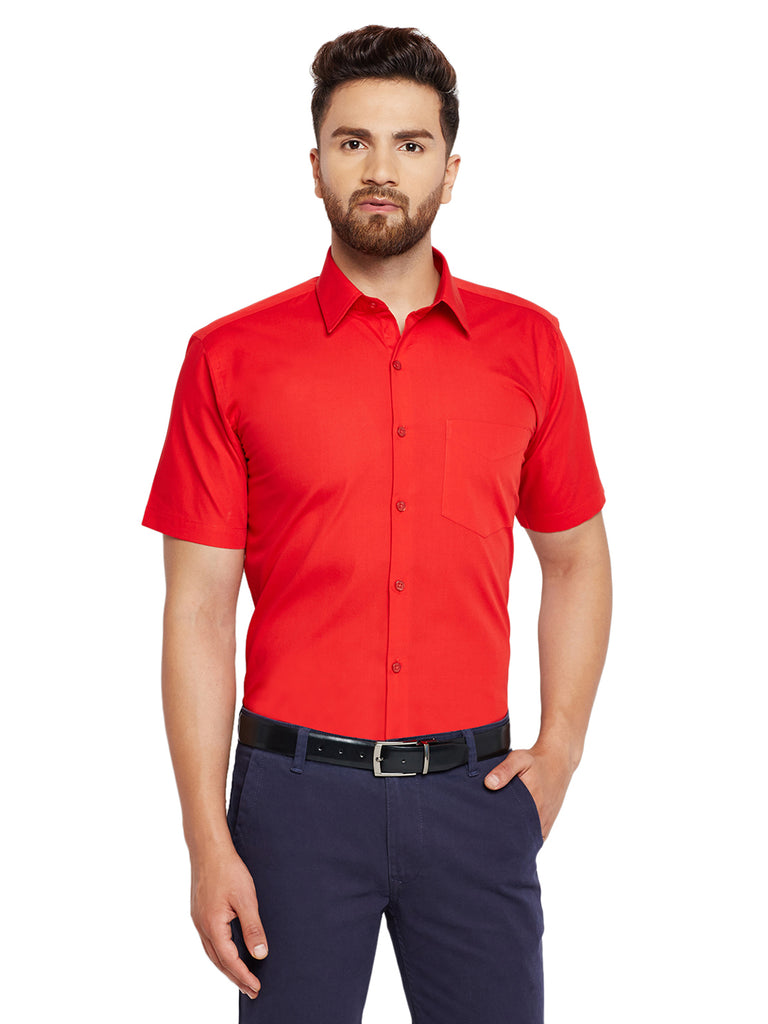 Hancock Red Solid Slim Fit Pure Cotton Formal Shirt