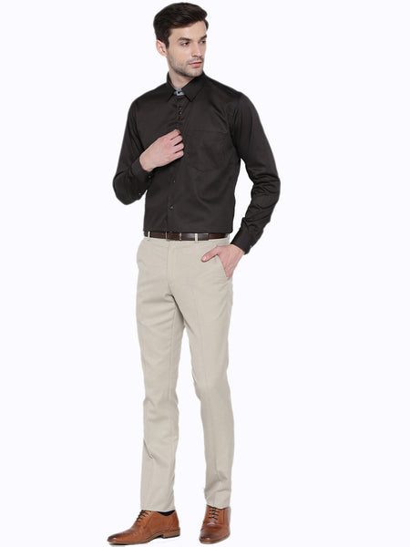 Hancock Brown Solid Pure Cotton Slim Fit Formal Shirt
