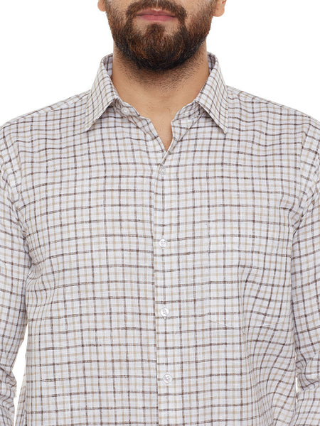 Hancock Beige Checked Slim Fit Formal Shirt
