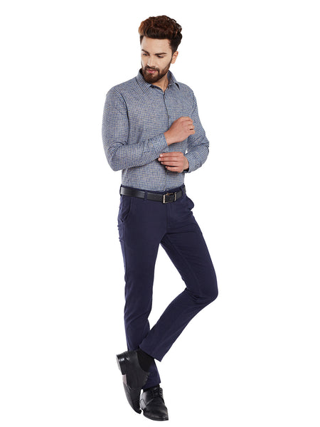 Hancock Grey Checks Slim Fit Formal Shirt