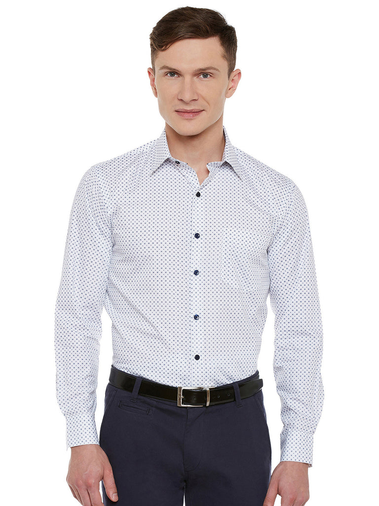 Hancock White Printed Pure Cotton Slim Fit Formal Shirt
