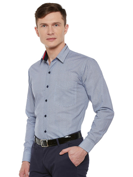 Hancock White and Navy Printed Pure Cotton Slim Fit Formal Shirt