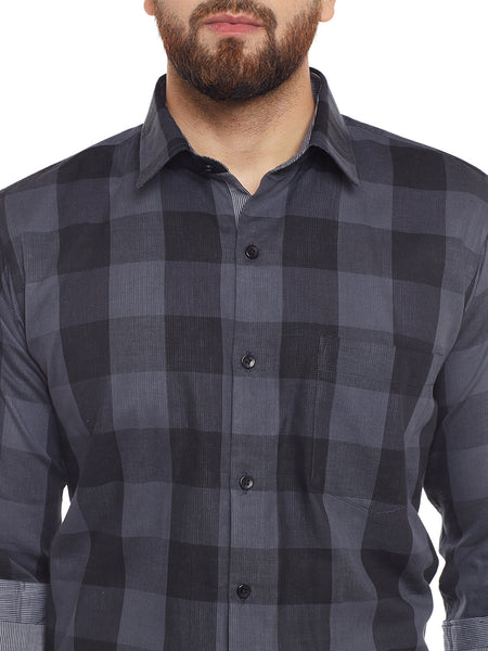 Hancock Grey Checked Slim Fit Casual Shirt