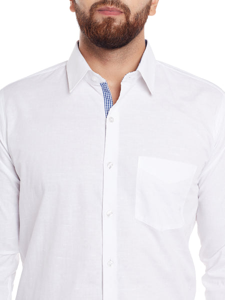 Hancock White Solid Pure Cotton Slim Fit Shirt