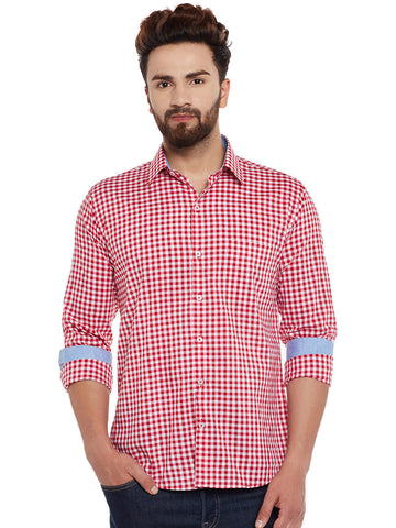 Hancock Red and White Checks  Pure Cotton Slim Fit Casual Shirt