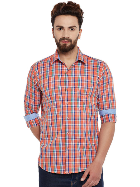 Hancock Orange Checks  Pure Cotton Slim Fit Casual Shirt