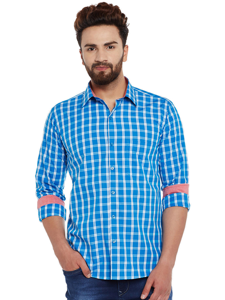 Hancock Blue Checks  Pure Cotton Slim Fit Casual Shirt