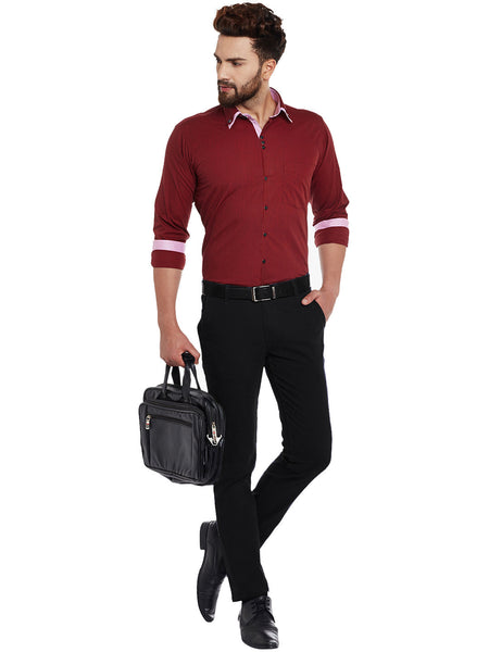 Hancock Maroon Solid Pure Cotton Slim Fit Casual Shirt