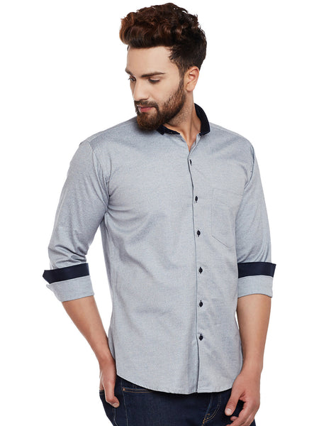 Hancock Grey Denim Pure Cotton Slim Fit Casual Shirt
