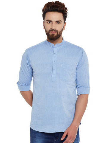 Hancock Blue Solid Pure Cotton Slim Fit Casual Shirt