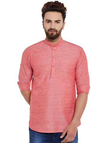 Hancock Coral Solid Pure Cotton Slim Fit Casual Shirt