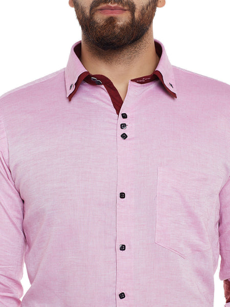 Hancock Pink Solid Cotton Linen Slim Fit Casual Shirt