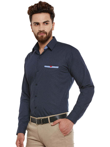 Hancock Navy Printed Pure Cotton Slim Fit Casual Shirt