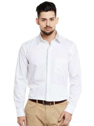 Hancock White Solid Pure Cotton Pure Cotton Slim Fit Party Wear Shirt