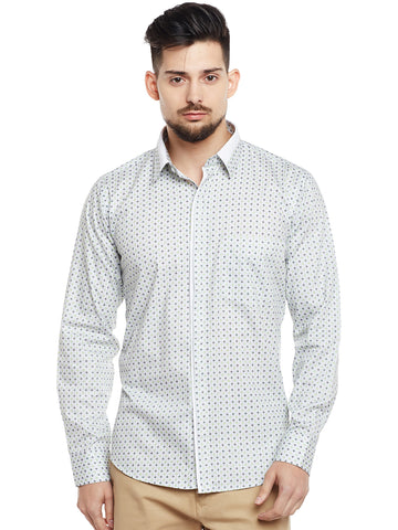 Hancock White & Green Printed Pure Cotton Pure Cotton Slim Fit Party Wear Shirt