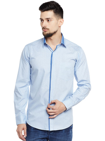 Hancock Sky Blue Printed Pure Cotton Pure Cotton Slim Fit Party Wear Shirt