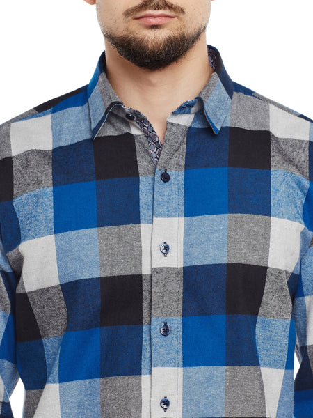 Hancock Navy & Blue Checked Pure Cotton Pure Cotton Slim Fit Casual Shirt