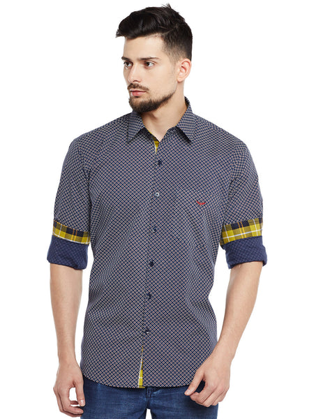Hancock Navy Printed Pure Cotton Pure Cotton Slim Fit Casual Shirt