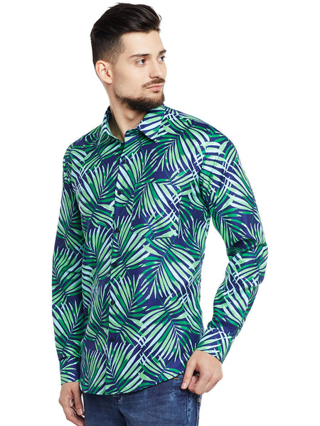 Hancock Navy & Green Printed Pure Cotton Pure Cotton Slim Fit Casual Shirt