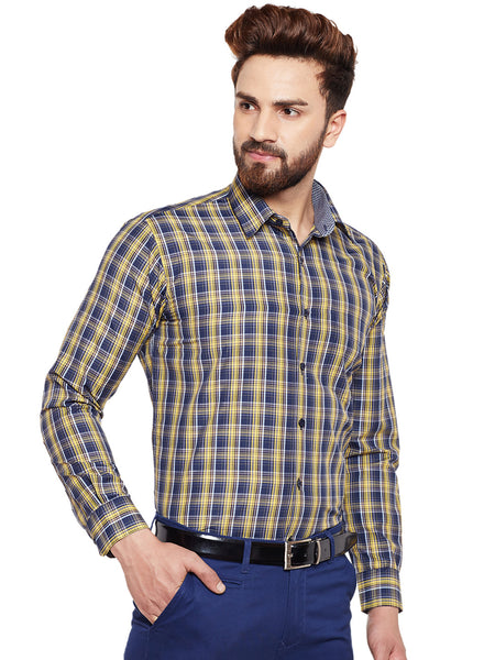 Hancock Yellow Checked Slim Fit Formal Shirt