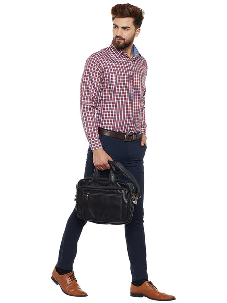 Hancock Red Checked Slim Fit Formal Shirt