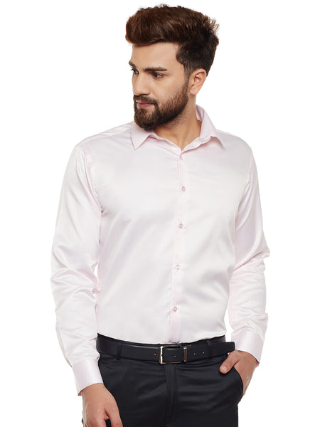 Hancock Pink Solid Party Wear Slim Fit Formal Shirt