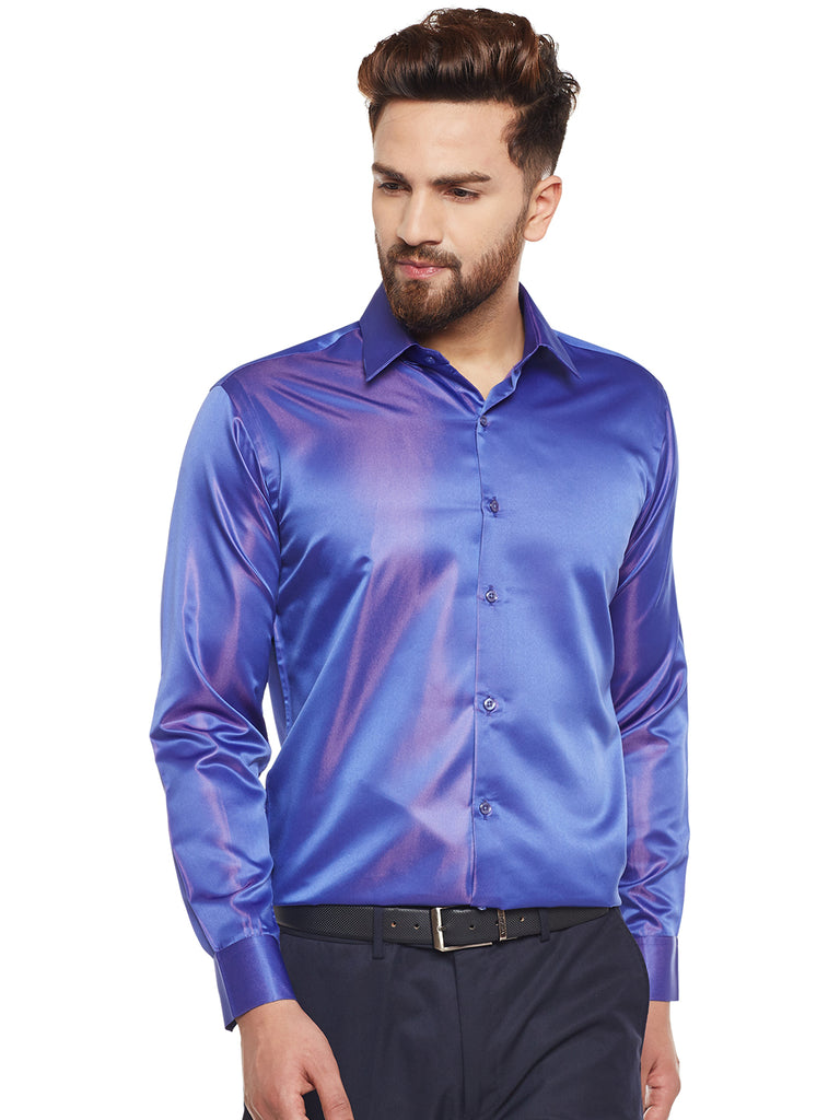 Hancock Royal Blue Solid Party Wear Slim Fit Formal Shirt