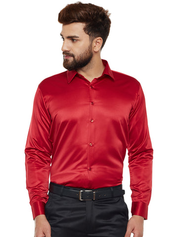 Hancock Red Solid Party Wear Slim Fit Formal Shirt