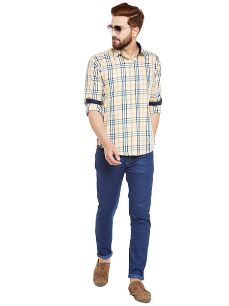 Hancock Beige Pure Cotton Checked Slim Fit Casual Shirt