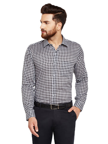 Hancock Black Checks Slim Fit Pure Cotton Formal Shirt