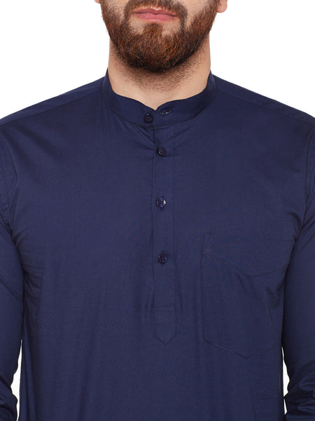Hancock Navy Blue Solid Mandarin Collar Pure Cotton Slim Fit Shirt