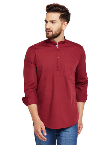 Hancock Maroon Solid Slim Fit Pure Cotton Formal Shirt